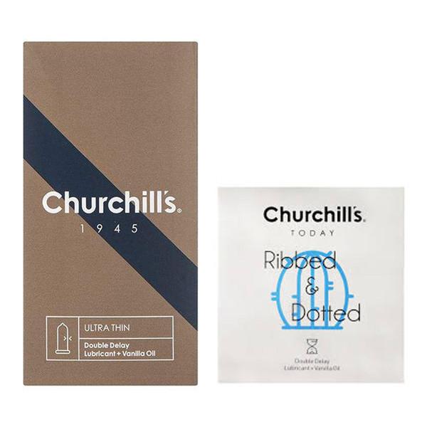 کاندوم چرچیلز مدل Ultra Thin بسته 12 عددی به همراه کاندوم چرچیلز مدل شیاردار و خاردار بسته 3 عددی