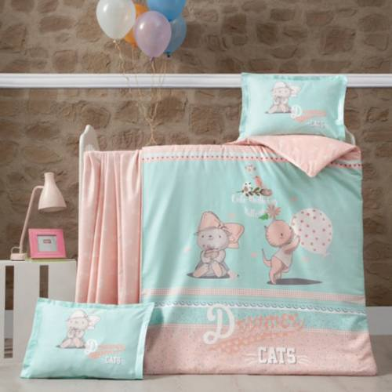سرویس خواب نوزادی لوکا پاتیسکا مدل Kity گلبه ای 4 تکه