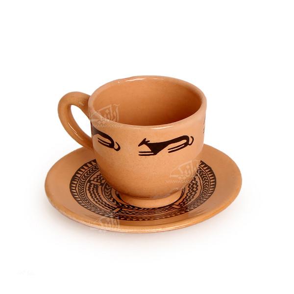 فنجان و نعلبکی سفالی نقاشی زیر لعابی قهوه ای روشن طرح روباه مدل 1007800005