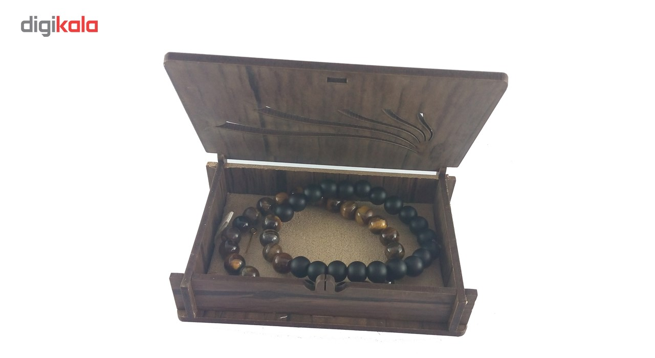 دستبند سنگ لوتوس چشم ببر و انیکس مات مودی سف وجعبه مشبک چوبی مدل D25 بسته دو عددی