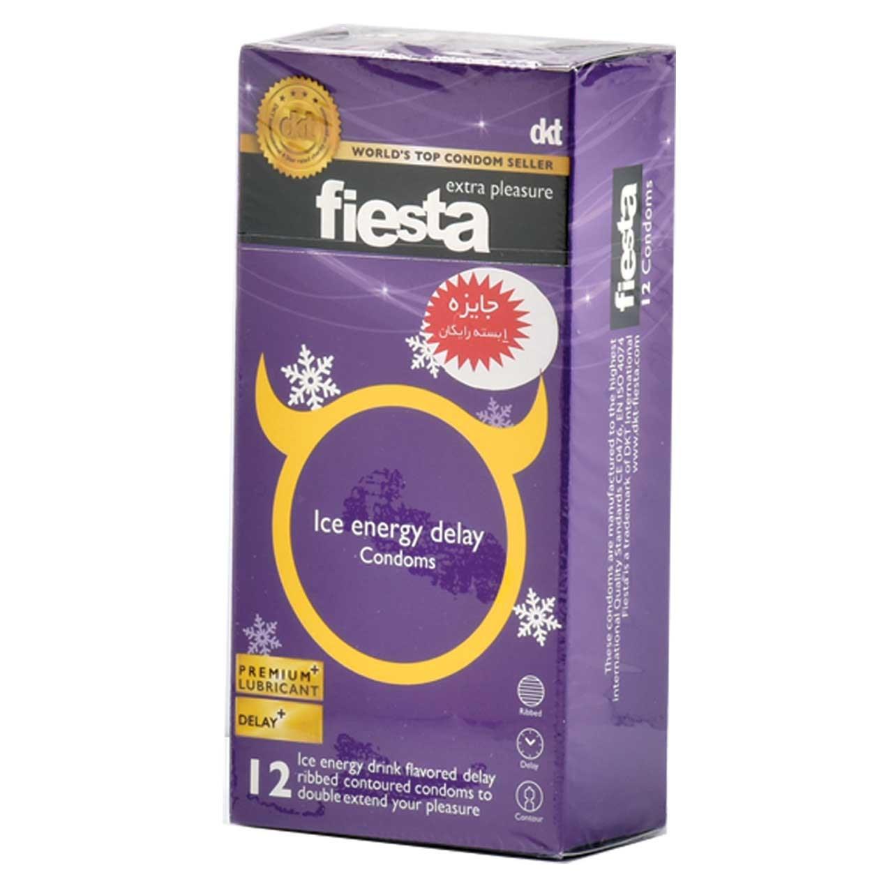 کاندوم خنک انرژی تاخیری فیستا مدل Ice Energy Delay بسته 12 عددی