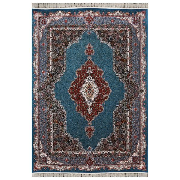 فرش ماشینی فرش هدیه طرح محتشم زمینه آبی
