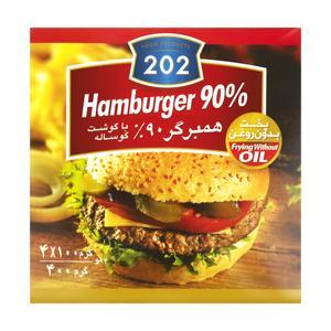 همبرگر 90 درصد گوشت قرمز 202 - 400 گرم