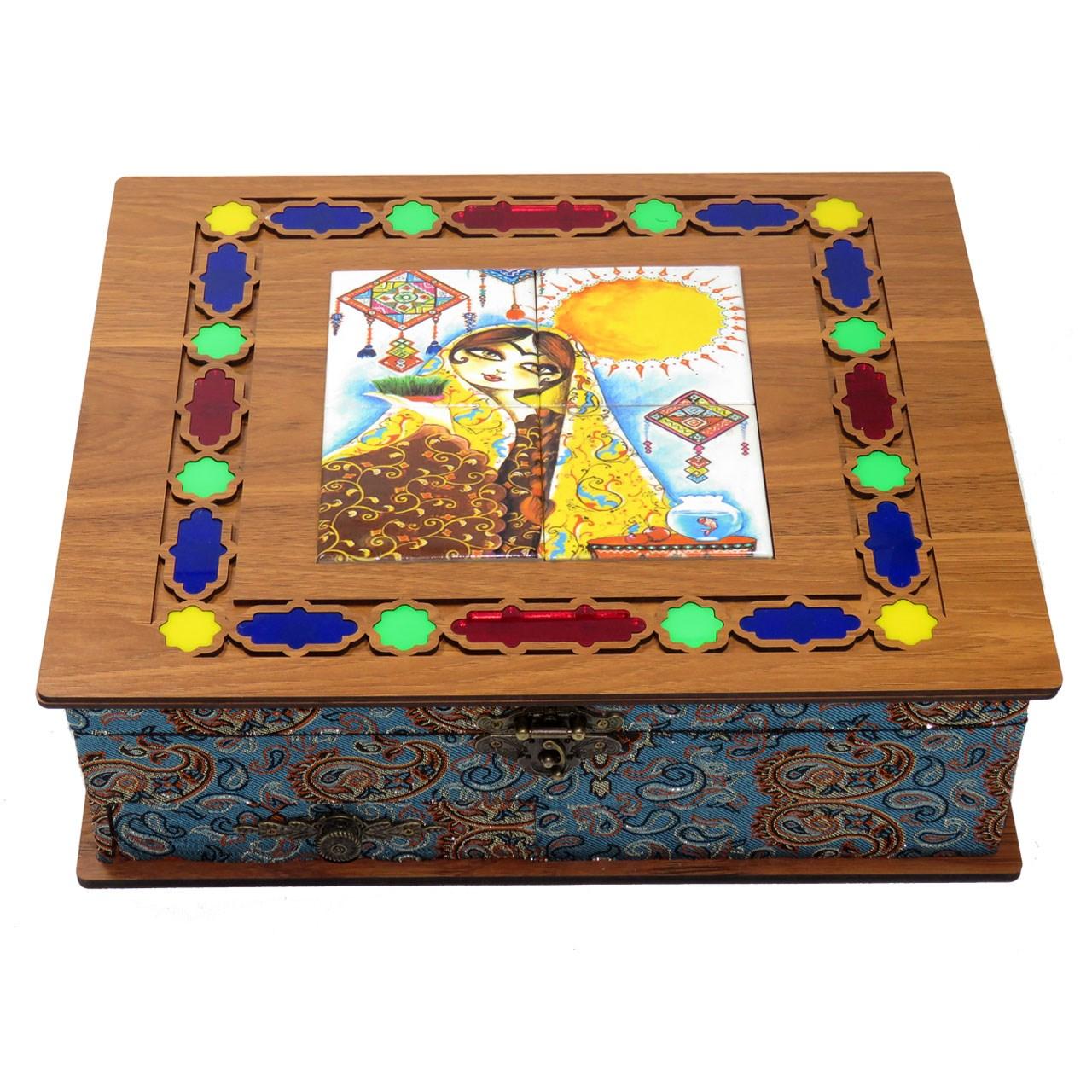 جعبه پذیرایی دمنوش چایی کیسه ای لوکس باکس مدل خاتون کد LB12