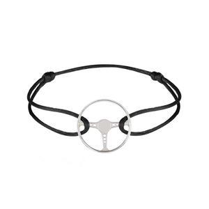 دستبند نقره مردانه مدل فرمان جگوار مسابقه ای