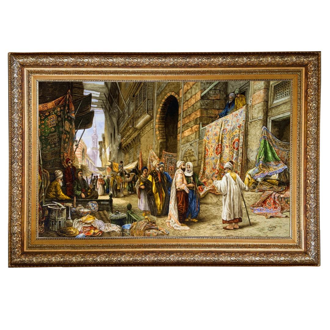 تابلو فرش دستبافت طرح بازار قاهره کد
