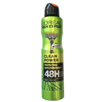 اسپری خوشبو کننده بدن مردانه لورآل مدل clean power new حجم 250 میلی لیتر