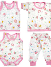 ست 4 تکه لباس نوزادی کد q111 رنگ صورتی -  - 1