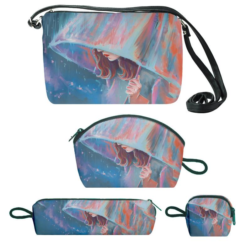 کیف دخترانه طرح چتر کد f196 مجموعه 4 عددی