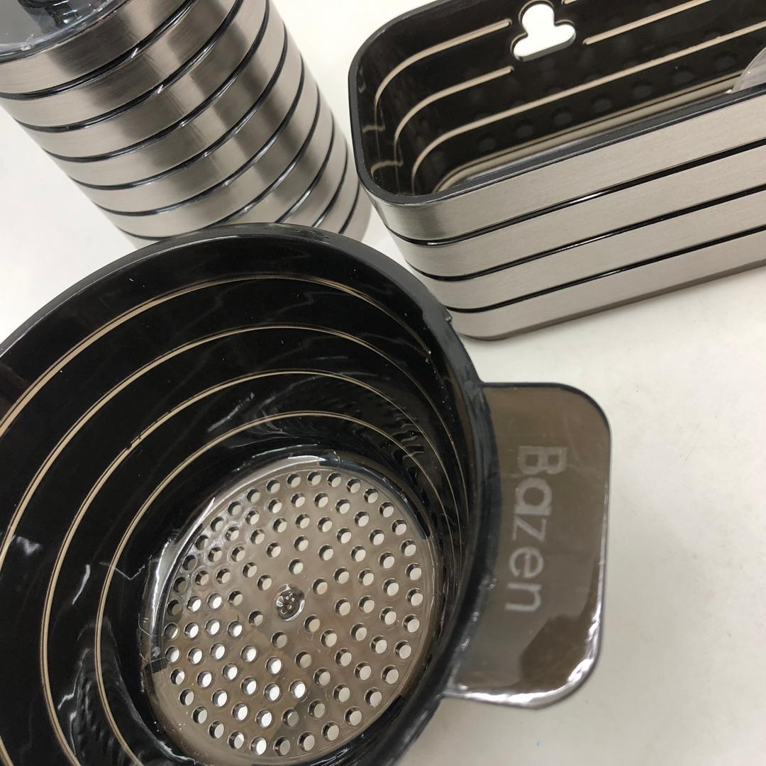 سبد سینک بازن مدل STL کد SHR 411 به همراه جا اسکاچی و پمپ مایع ظرفشویی