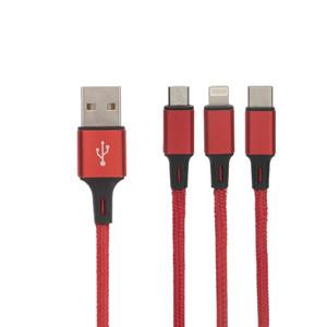 کابل تبدیل USB به لایتنینگ/USB-C/microUSB بیبوشی مدل CA009A طول 1 متر