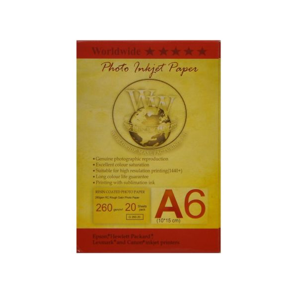 کاغذ عکس ورلدواید مدل Rough satin سایز A6 بسته 20 عددی