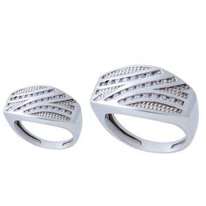 ست انگشتر نقره زنانه و مردانه بازرگانی میلادی کد AWR-587