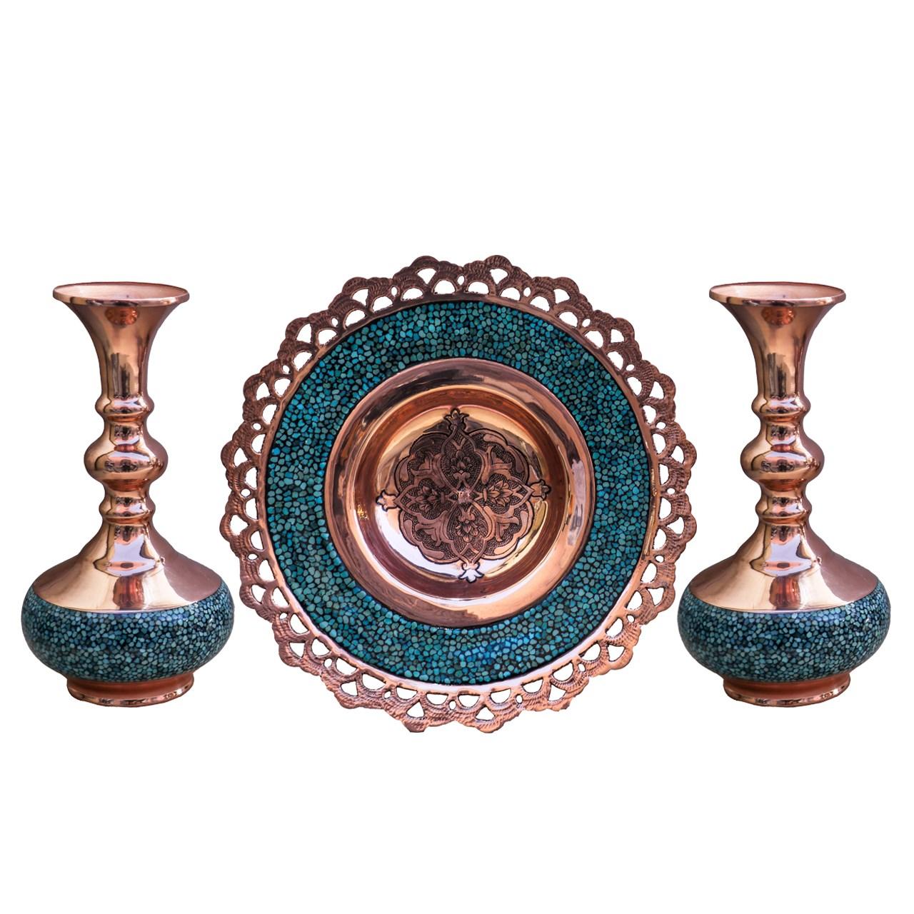 عکس شیرینی خوری و گلدان فیروزه کوب مدل369446 مجموعه سه عددی گالری جعفری