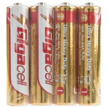 باتری نیم قلمی گیگاسل مدل Ultra Heavy Duty بسته 4 عددی