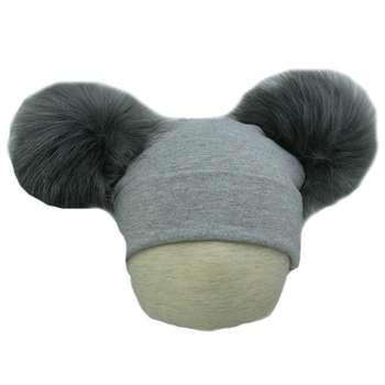 کلاه استرج پوم پوم دار  مدل  طوسی ملانژ