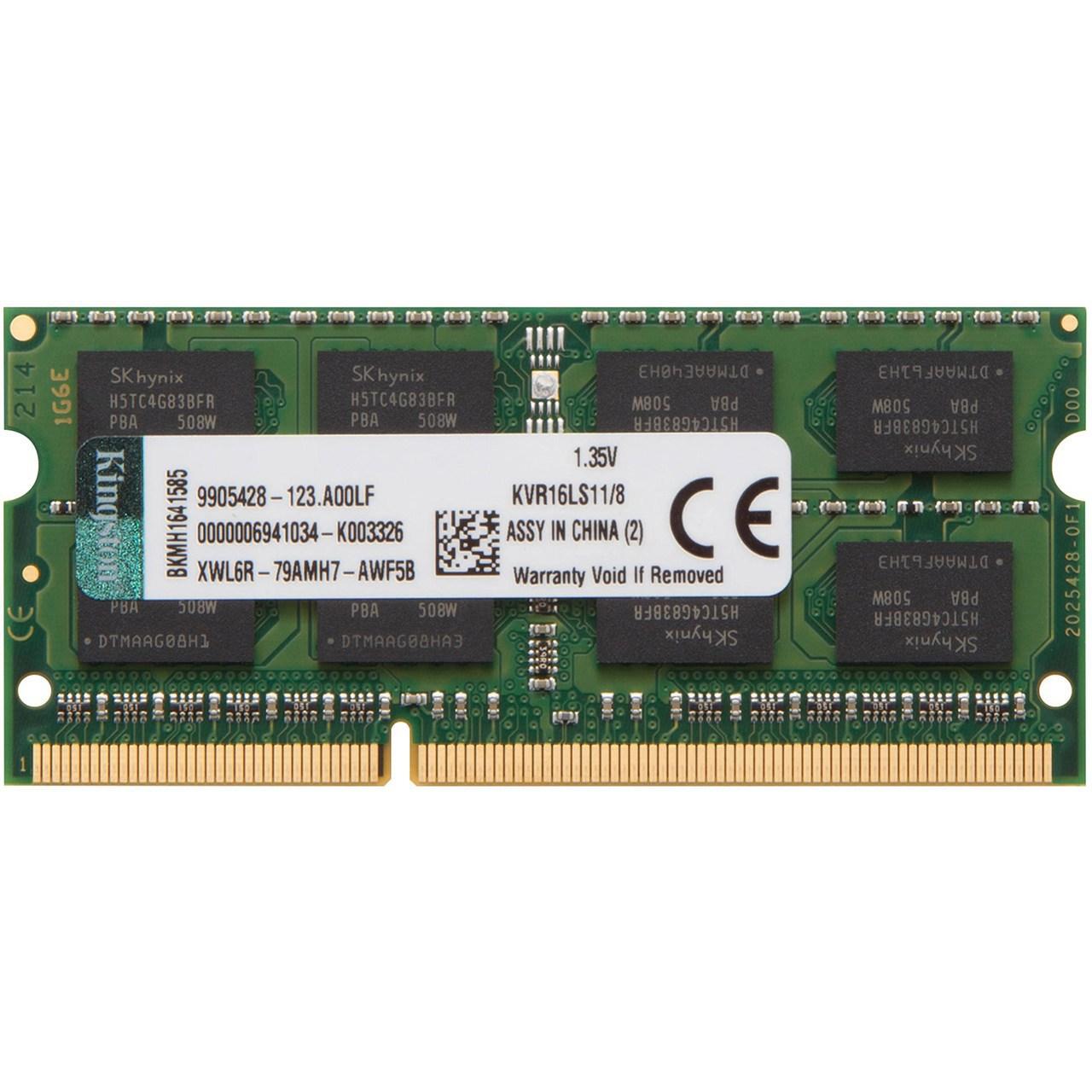 رم لپ تاپ DDR3L تک کاناله 1600 مگاهرتز CL11 کینگستون مدل ValueRAM ظرفیت 8 گیگابایت
