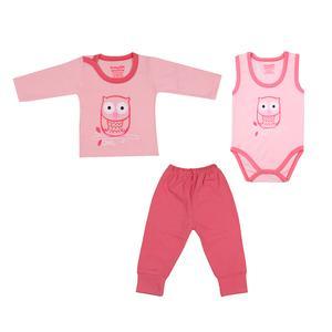 ست ۳ تکه لباس نوزادی دخترانه بی بی گیفت طرح جغد