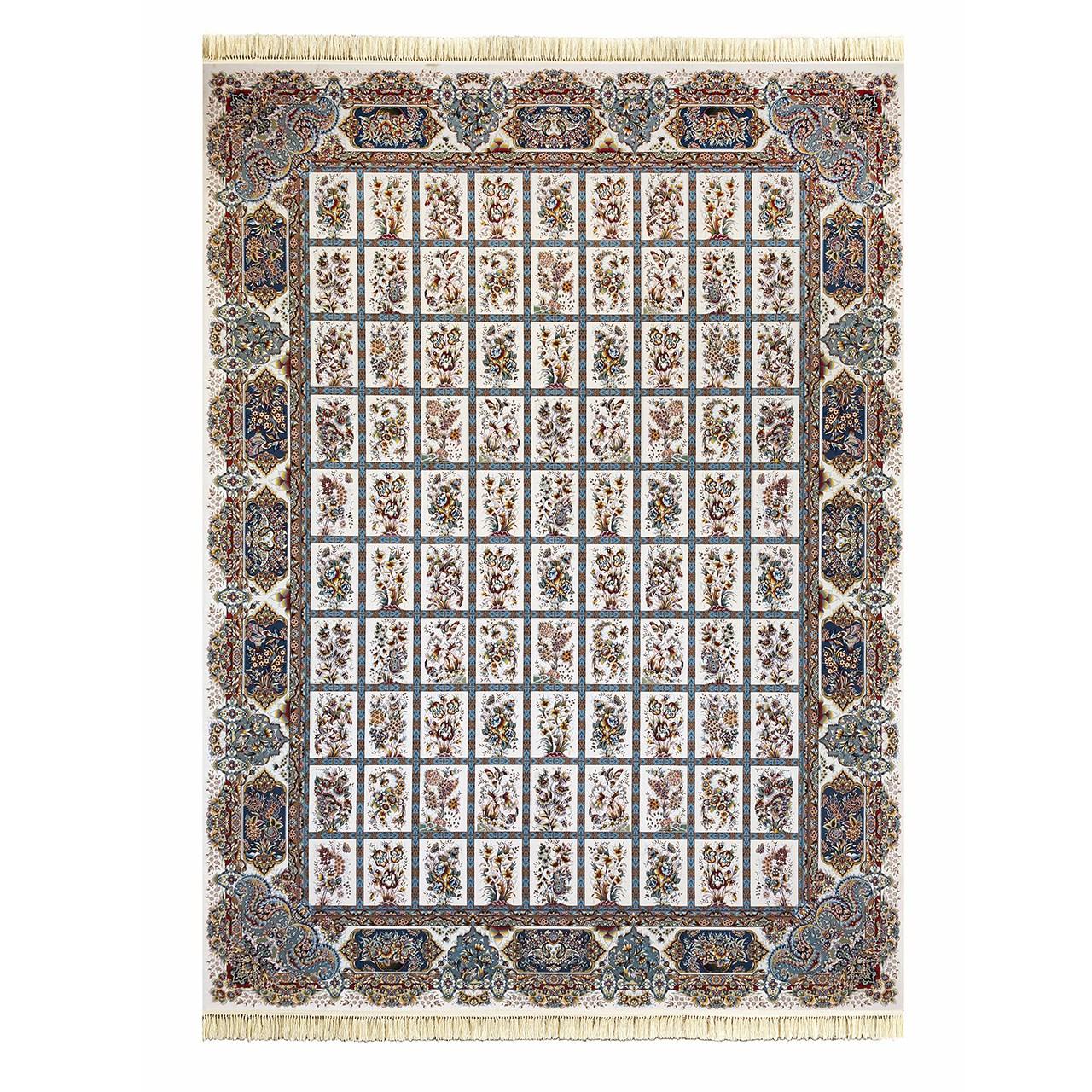 فرش ماشینی داریوش گل برجسته کد 1212  زمینه کرم