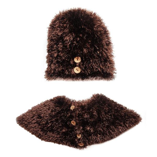ست کلاه و شال گردن بافتنی زنانه مدل  T-2535