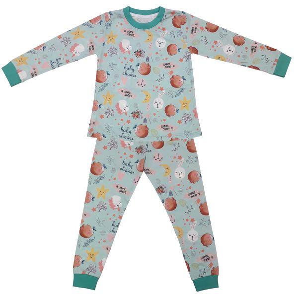 ست تی شرت و شلوار دخترانه طرح خرس و پروانه کد 3135 رنگ سبز آبی
