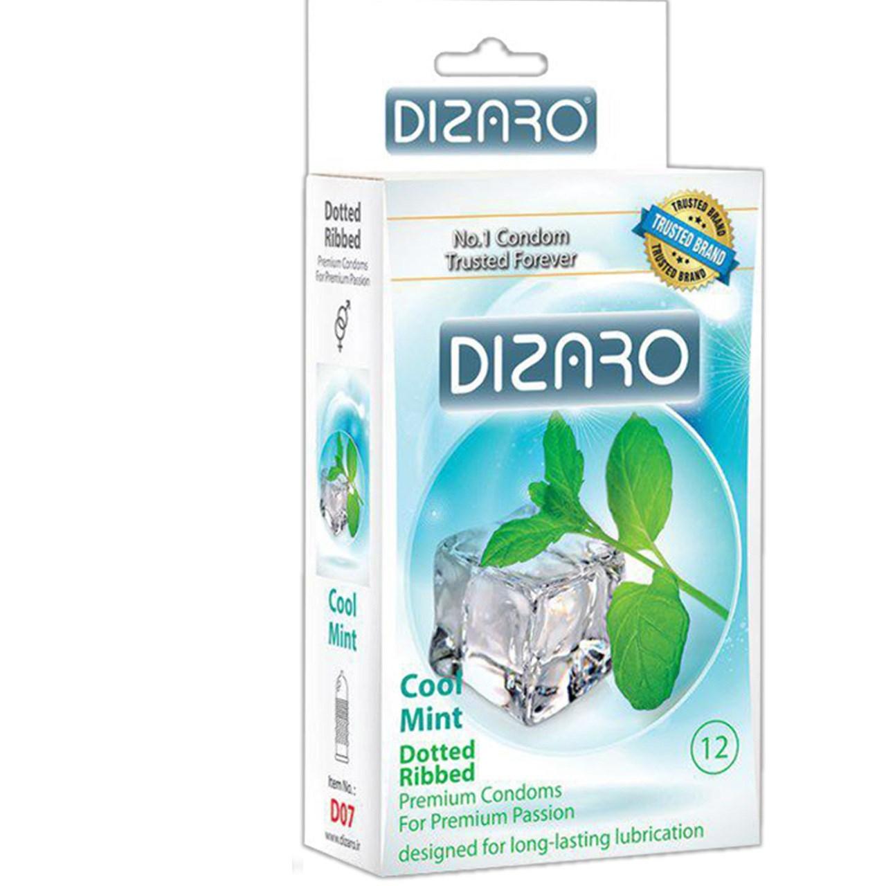 کاندوم دیزارو مدل DOTTED RIBBED COOL MINT کد D07 بسته 12 عددی