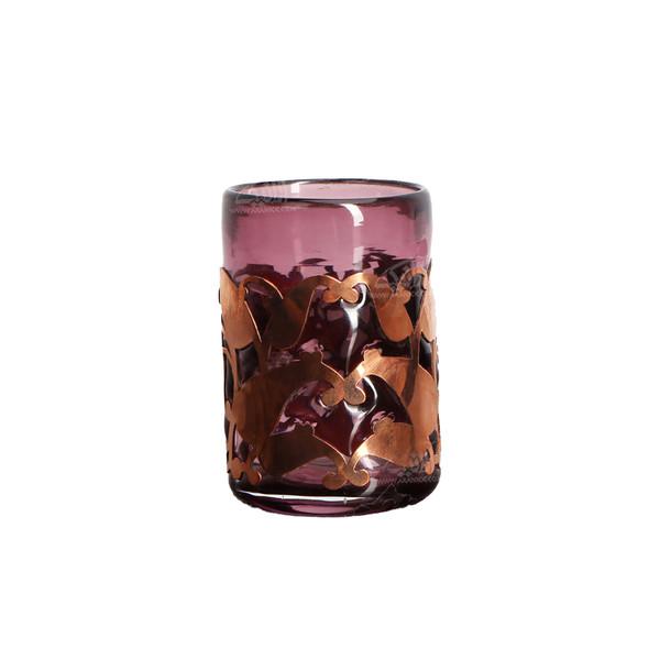 لیوان شیشه گری فوتی آرانیک مشبک مس بنفش تیره مدل 1017100002