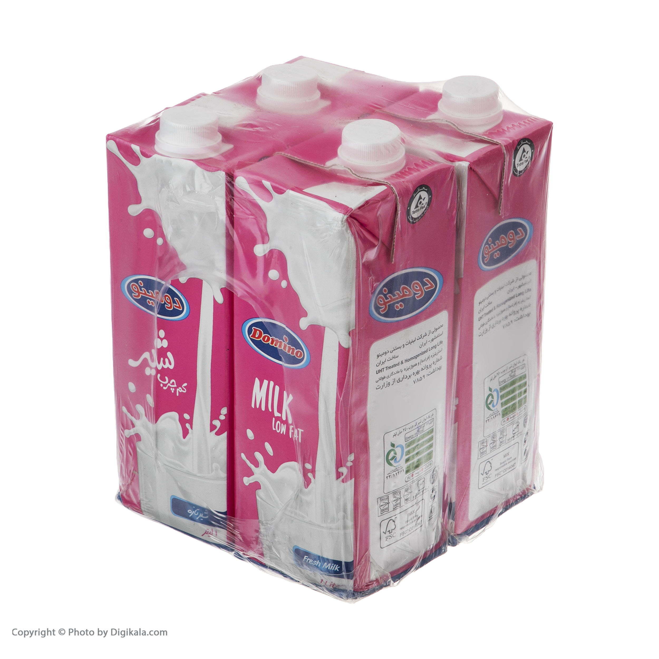 شیر کم چرب دومینو - 1 لیتر بسته 4 عددی