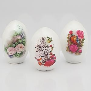 تخم مرغ تزیینی هفت سین طرح گل و بلبل کد FF007 مجموعه 3 عددی
