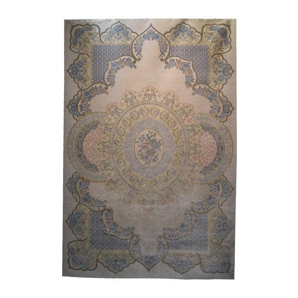 فرش ابریشمی کرامتیان طرح گنبدی کد370A زمینه گلبهی