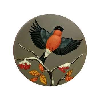 بشقاب دیوارکوب سفالی طرح پرنده زمستانی کد p1