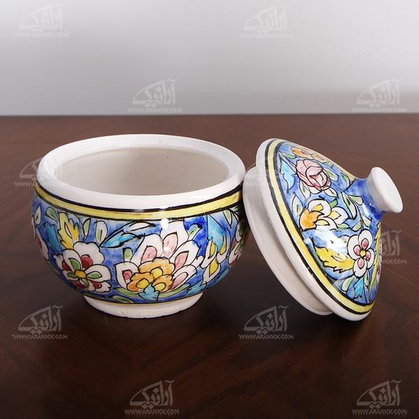 قندان سفالی نقاشی زیر لعابی  رنگ آبی طرح گل مدل 1004900001