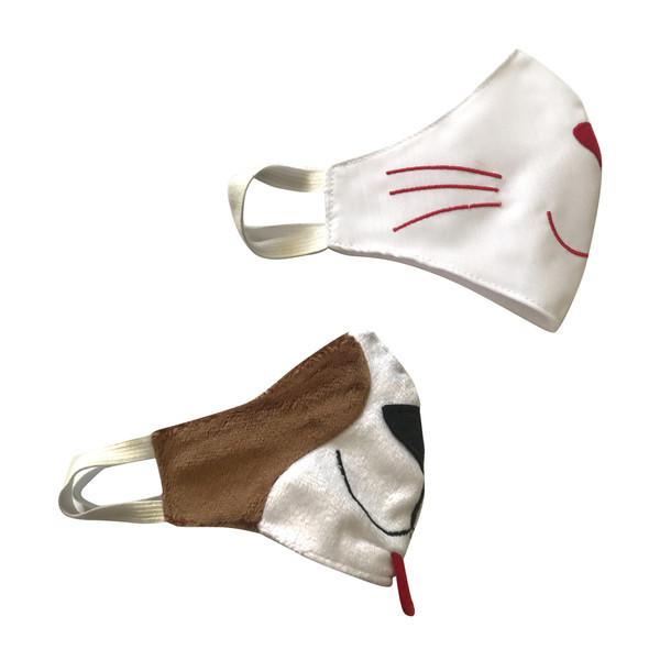 ماسک تزیینی مدل گربه و سگ مجموعه 2 عددی
