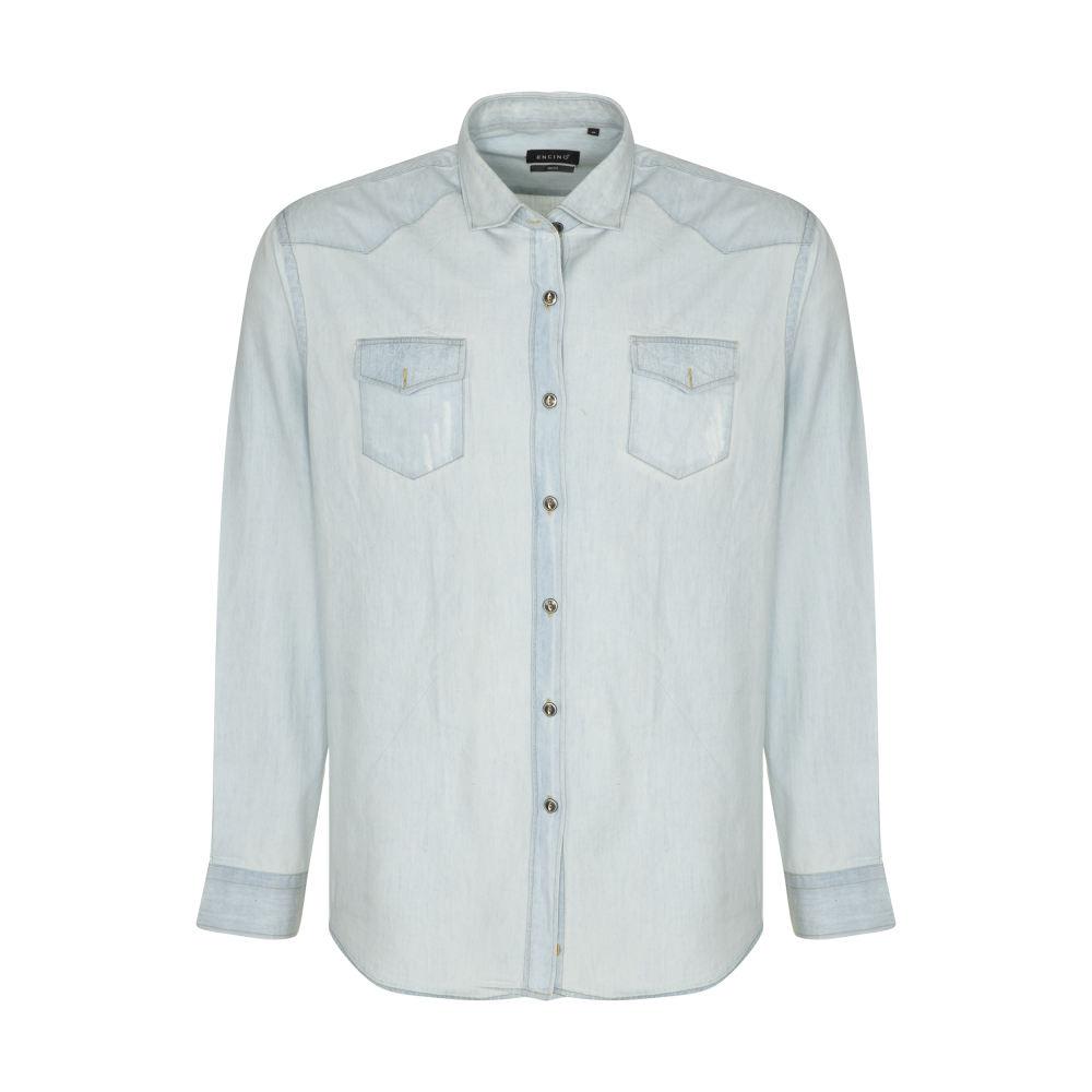 تصویر پیراهن آستین بلند مردانه ان سی نو مدل بیلی رنگ آبی روشن