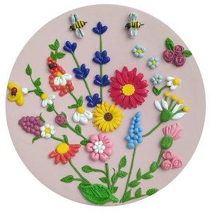 بشقاب دیوارکوب سفالی طرح گل ها کد G1