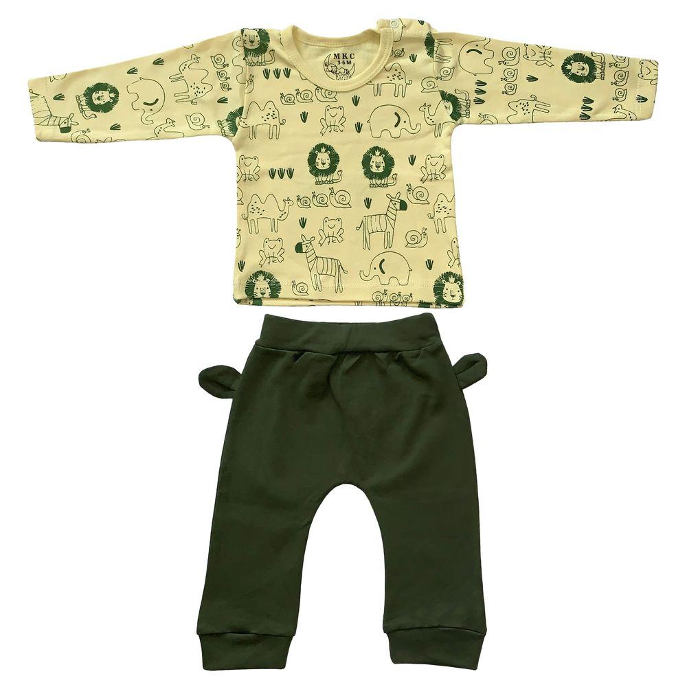 ست تی شرت و شلوار نوزادی طرح شیر کد FF-079