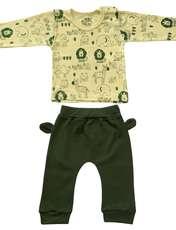 ست تی شرت و شلوار نوزادی طرح شیر کد FF-079 -  - 1