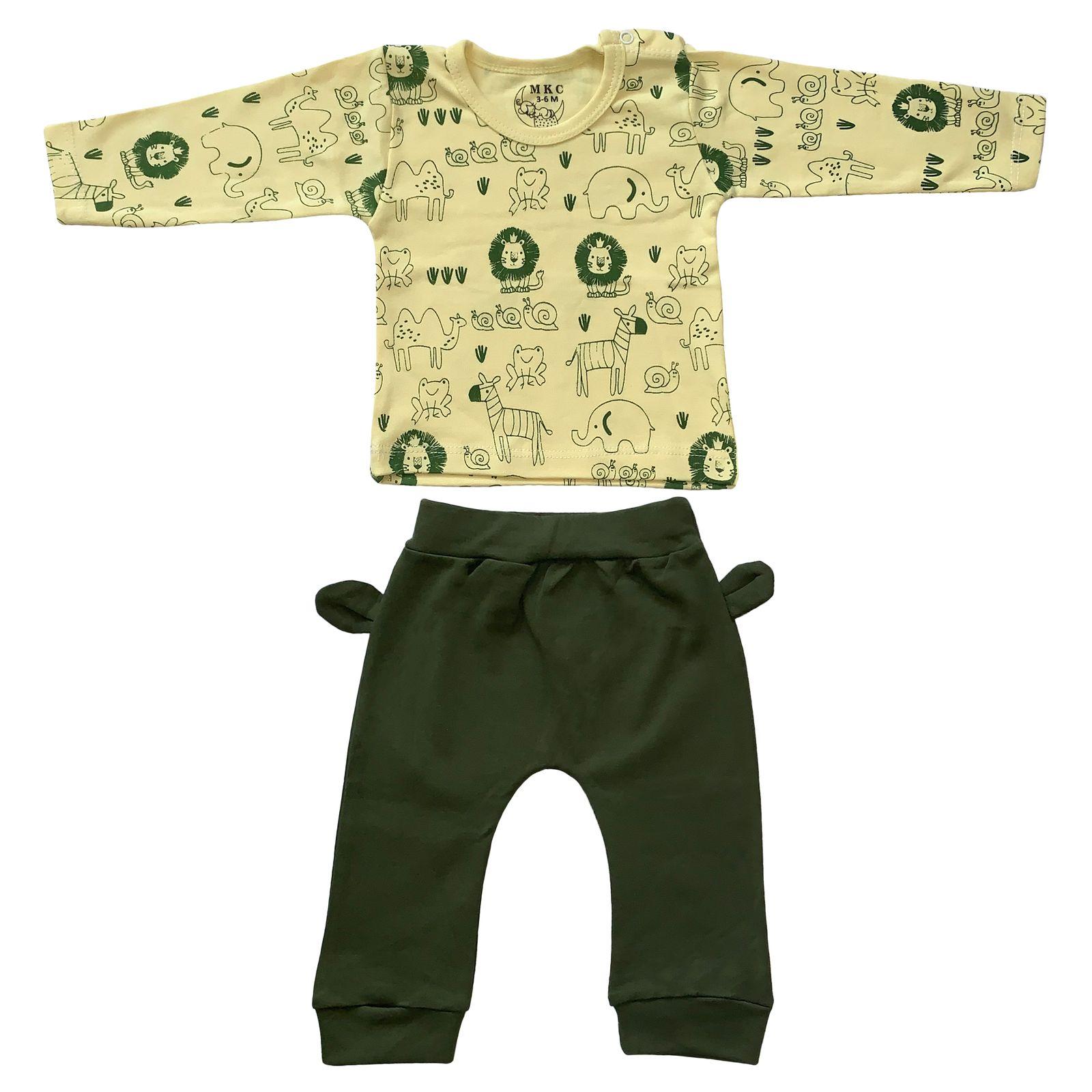 ست تی شرت و شلوار نوزادی طرح شیر کد FF-079 -  - 2
