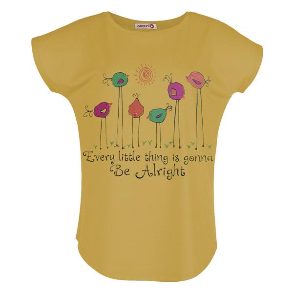 تی شرت زنانه افراتین طرح جوجه کد 2549 رنگ خردلی