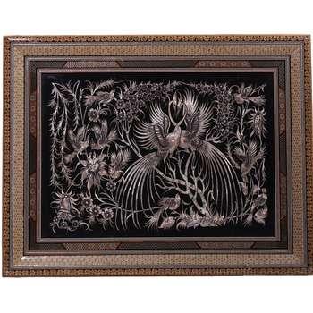 تابلوی قلمزنی سجاد جعفری مدل گل و مرغ کد M5070