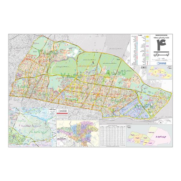 نقشه راهنمای منطقه ۴ تهران گیتاشناسی نوین کد ۱۳۰۴