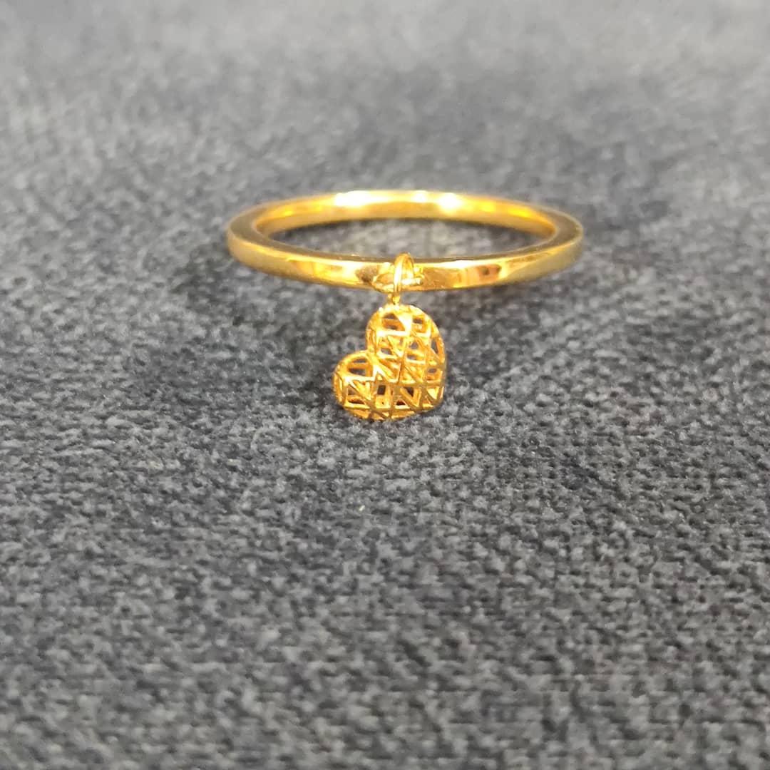 انگشتر طلا 18 عیار زنانه قیراط طرح قلب کد GH258