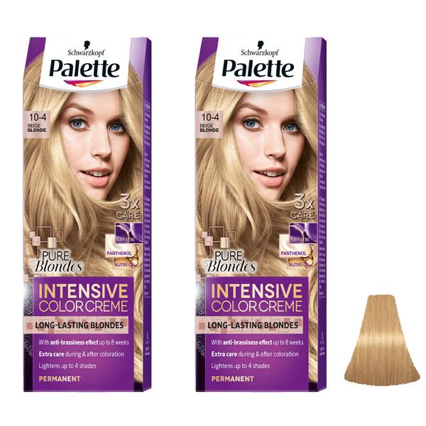 کیت رنگ مو پلت سری Intensive شماره 4-10 حجم 50 میلی لیتر رنگ بلوند بژ مجموعه 2 عددی