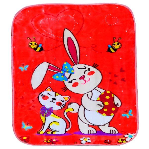 پتوی نوزاد شادیلون طرح خرگوش و گربه سایز 80x100 سانتی متر