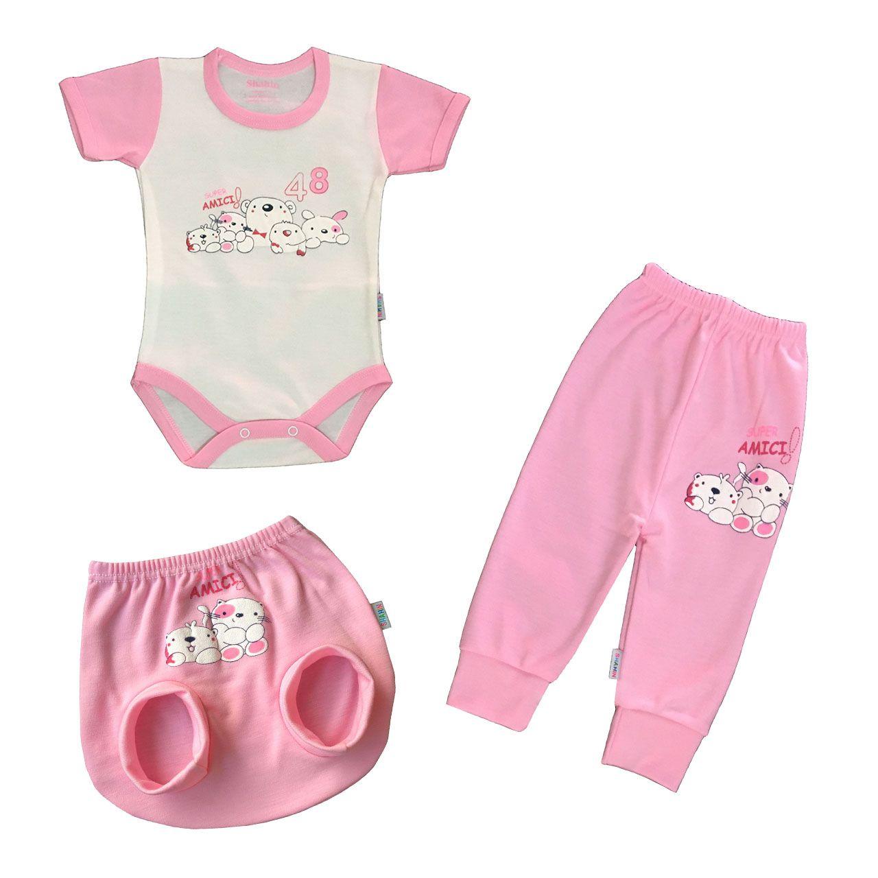 ست 3 تکه لباس نوزادی دخترانه شاهین طرح امیکی کد k -  - 2