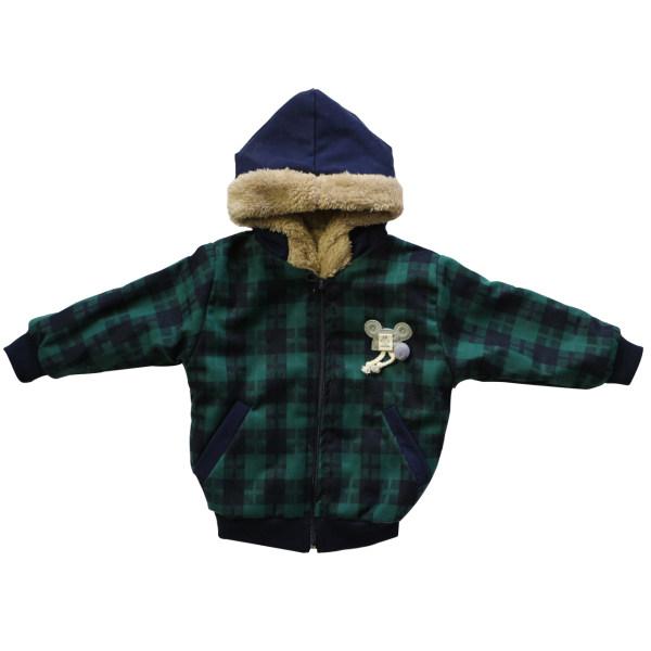 کاپشن نوزادی مدل چهارخانه رنگ سبز
