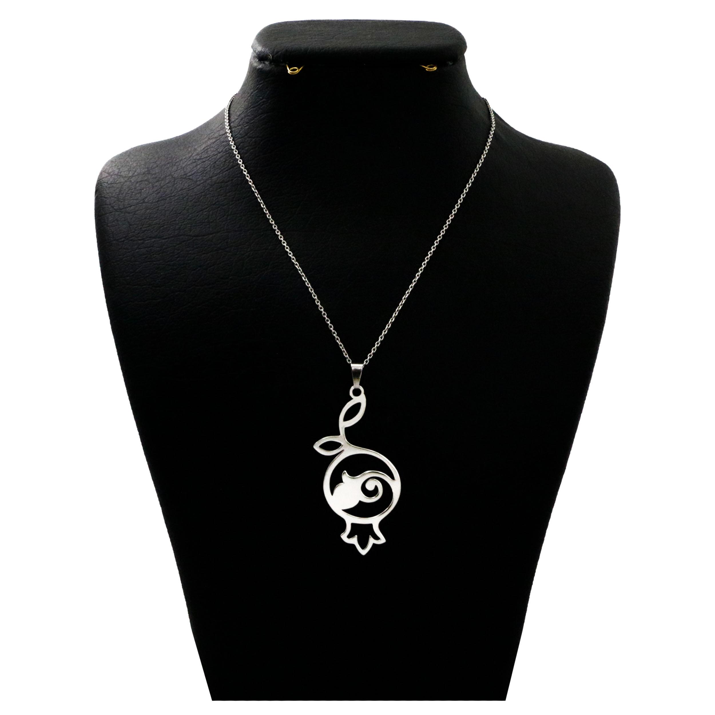 گردنبند نقره زنانه  دلی جم طرح انار شب یلدا  کد D 393