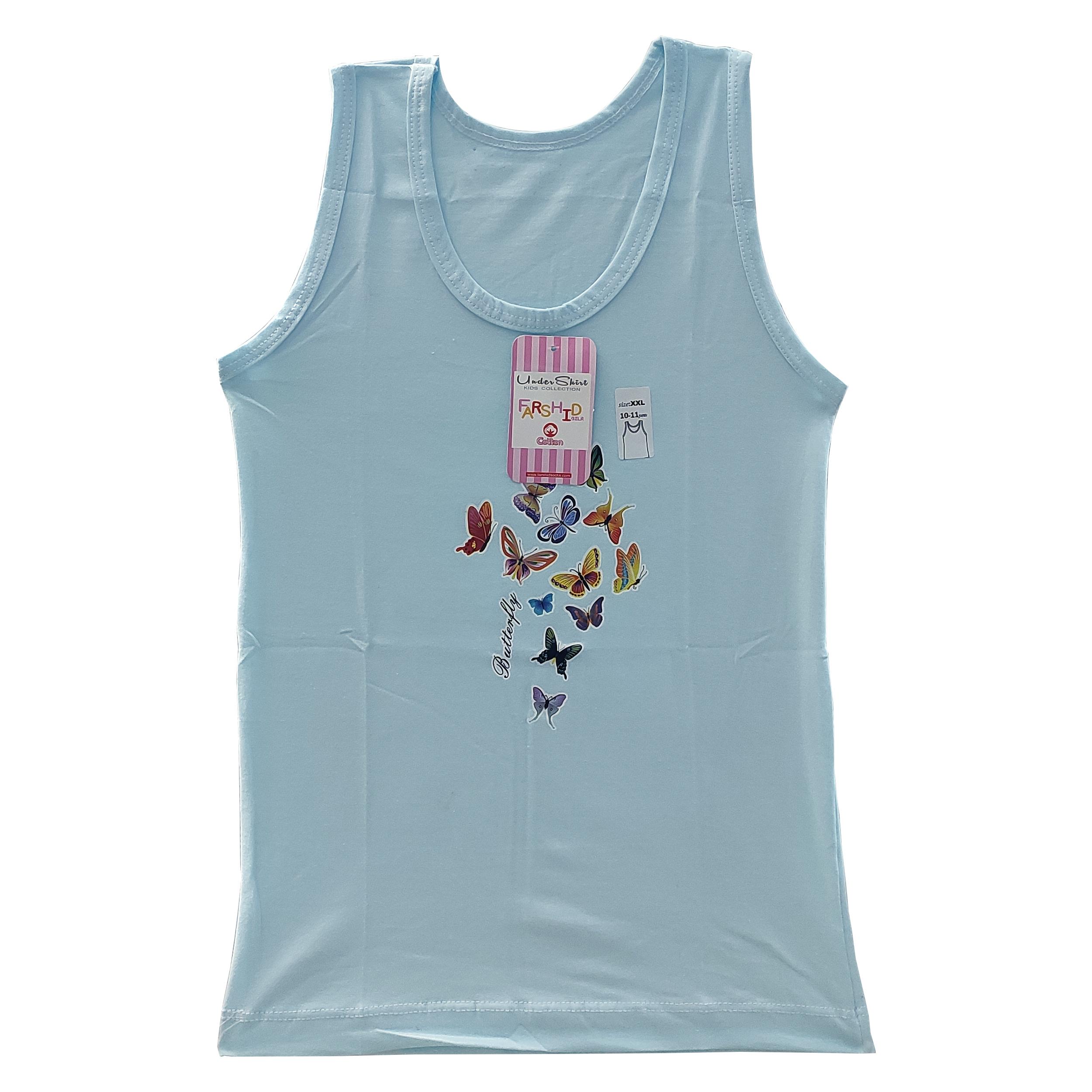تاپ دخترانه فرشید طرح پروانه کد 30537 رنگ آبی
