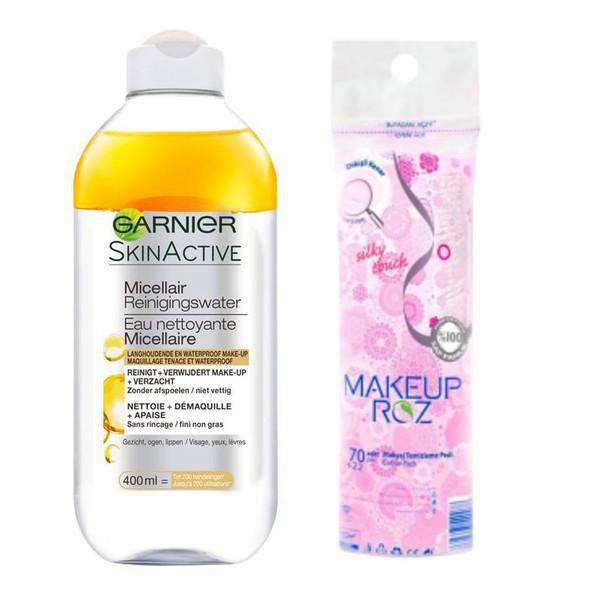 محلول پاک کننده آرایش صورت گارنیه مدل Argan حجم 400 میلی لیتر به همراه پد  پاک کننده آرایش صورت میکاپ رز بسته  92 عددی