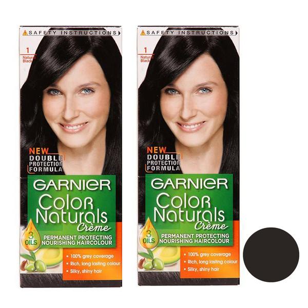 کیت رنگ مو گارنیه شماره 1 حجم 40 میلی لیتر رنگ مشکی مجموعه 2 عددی